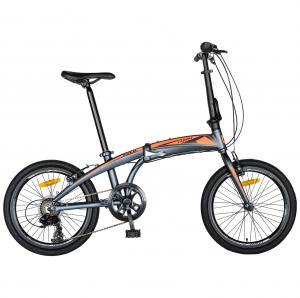 """Bicicleta pliabila 20"""" CARPAT C2052C, echipare SHIMANO 7 viteze, culoare gri/portocaliu [0]"""