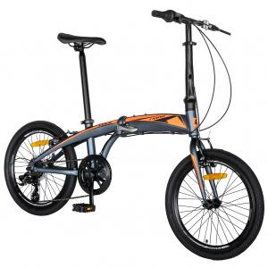 """Bicicleta pliabila 20"""" CARPAT C2052C, echipare SHIMANO 7 viteze, culoare gri/portocaliu [1]"""