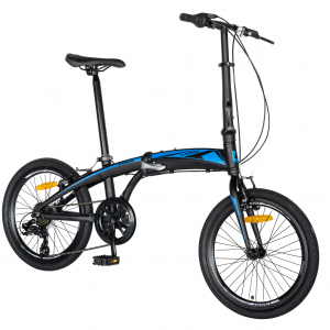 """Bicicleta pliabila 20"""" CARPAT C2052C, echipare SHIMANO 7 viteze, culoare negru/albastru1"""