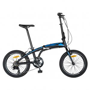 """Bicicleta pliabila 20"""" CARPAT C2052C, echipare SHIMANO 7 viteze, culoare negru/albastru0"""