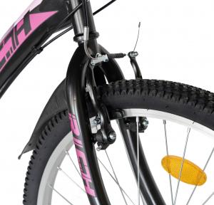 """Bicicleta TREKKING 24"""" RICH R2430A, 6 viteze, culoare negru/fucsia [8]"""