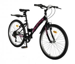 """Bicicleta TREKKING 24"""" RICH R2430A, 6 viteze, culoare negru/fucsia [1]"""