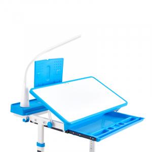 Birou de scris pentru copii, set de două piese, masă si scaun, reglabil pe înălțime, cu iluminare, albastru [2]