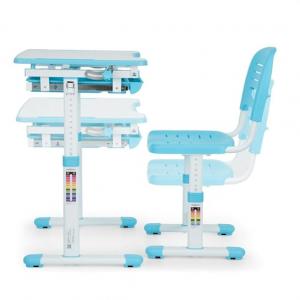 Birou de scris pentru copii, set de două piese, masă si scaun, reglabil pe înălțime, cu iluminare, albastru [9]