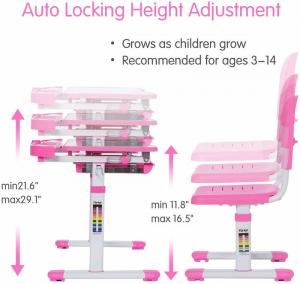 Birou de scris pentru copii, set de două piese, masă si scaun, reglabil pe înălțime, cu iluminare, roz [6]