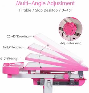 Birou de scris pentru copii, set de două piese, masă si scaun, reglabil pe înălțime, cu iluminare, roz [5]