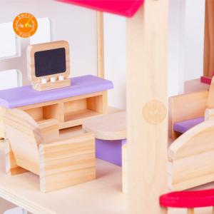 Casuta din lemn pentru papusi cu mobilier Pink5
