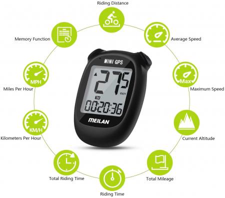 Ciclocomputer GPS pentru bicicleta Meilan M3 mini, Baterie reincarcabila 400 mAh, Rezistenta la apa IPX5, Ecran LCD (Negru) [2]