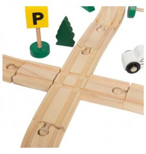Circuit trenuleț din lemn Glyph Track cu vagoane cu magnet, semne circulație, clădiri, Play Time, 48 piese, + 3 ani3