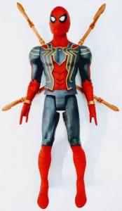 Figurina erou tip Avengers Marvel, Spiderman, culoare rosu, articulatii flexibile, iluminare led, dimensiune 30 cm1