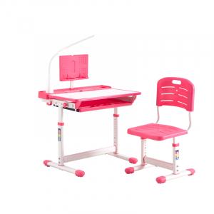 Birou de scris pentru copii, set de două piese, masă si scaun, reglabil pe înălțime, cu iluminare, roz [0]