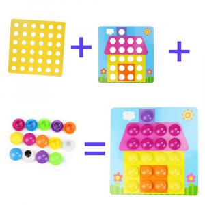 Joc de creație, Game Time - Button Idea, cu 12 planșe și 45 de butoane colorate, Multicolor, + 3 ani3