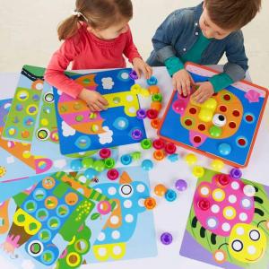 Joc de creație, Game Time - Button Idea, cu 12 planșe și 45 de butoane colorate, Multicolor, + 3 ani2
