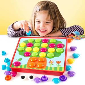 Joc de creație, Game Time - Button Idea, cu 12 planșe și 45 de butoane colorate, Multicolor, + 3 ani1