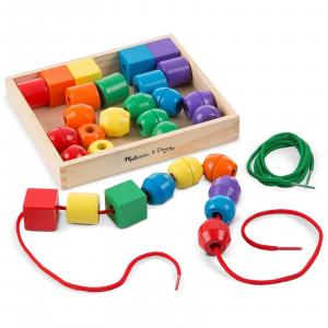 Jucărie de înșiruit din Lemn, Melissa & Doug, 30 piese colorate0