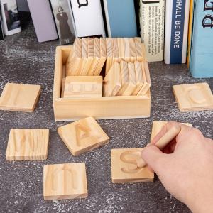Joc Montessori din Lemn Placute Litere - Joc lemn montessori senzorial Alfabetul0