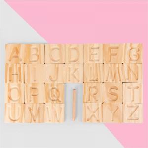Joc Montessori din Lemn Placute Litere - Joc lemn montessori senzorial Alfabetul1