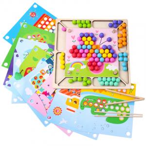 Joc Montessori de asociere si indemanare cu bile colorate [0]