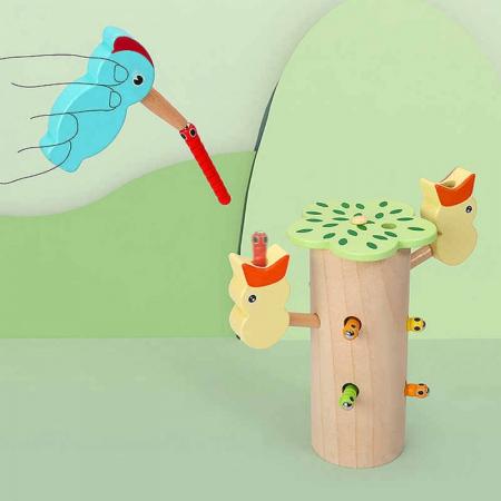 Jucarie din lemn educativa cu magnet, joc de indemanare Ciocanitoare cu pui [5]