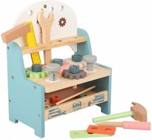 Jucarie din Lemn Montessori Banc de Scule Pastel - Masa de lucru copii4