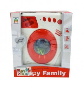 Jucarie Masina de spalat, cu sunete, lumini, Happy Family, Alb/Rosu [2]