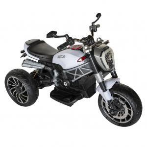 Motocicleta electrica copii cu acumulator, muzica si lumini, culoare alb/negru [0]