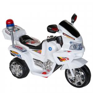 Motocicleta electrica copii cu baterie, muzica si girofar, culoare alb0