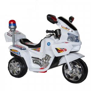 Motocicleta electrica copii cu baterie, muzica si girofar, culoare alb1