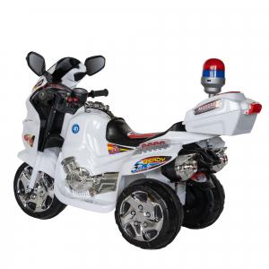 Motocicleta electrica copii cu baterie, muzica si girofar, culoare alb3