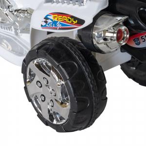 Motocicleta electrica copii cu baterie, muzica si girofar, culoare alb7