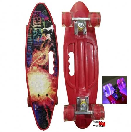 Placa Skateboard copii cu Luminite, Penny Board portabil, Roti din silicon cu lumini LED, ABEC-7 si MANER TRANSPORT, 58 cm [1]