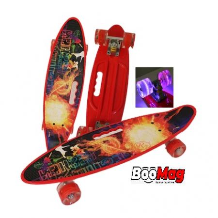Placa Skateboard copii cu Luminite, Penny Board portabil, Roti din silicon cu lumini LED, ABEC-7 si MANER TRANSPORT, 58 cm [0]