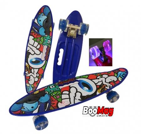 Placa Skateboard copii cu Luminite, Penny Board portabil, Roti din silicon cu lumini LED, ABEC-7 si MANER TRANSPORT, 58 cm - Rechin [0]