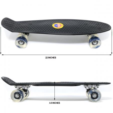 Skateboard copii cu Luminite, Penny Board, Roti din silicon cu lumini LED, ABEC-7 22 inch - negru [3]