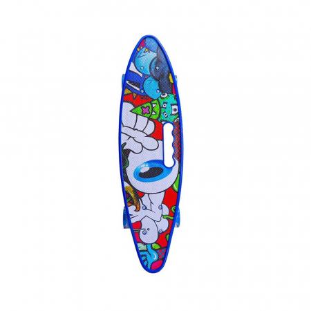 Placa Skateboard copii cu Luminite, Penny Board portabil, Roti din silicon cu lumini LED, ABEC-7 si MANER TRANSPORT, 58 cm - Rechin [1]