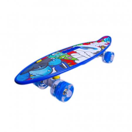 Placa Skateboard copii cu Luminite, Penny Board portabil, Roti din silicon cu lumini LED, ABEC-7 si MANER TRANSPORT, 58 cm - Rechin [2]