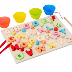 Puzzle 3D din lemn 3 în 1: Litere, joc pescuit și sortare bile colorate [2]