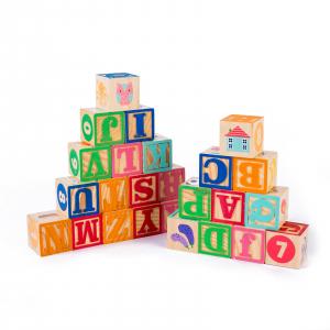 Set 26 cuburi din lemn pentru construit, cu litere, cifre și animale2