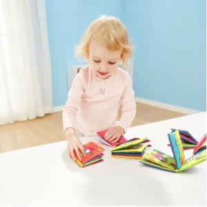 Set 6 cărți senzoriale, textile pentru bebeluși, Topbright, 0 luni+5