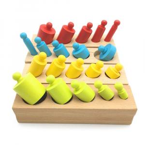 Cilindrii Montessori - cilindrii colorați din lemn0