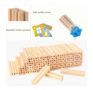 """Set de 268 de piese de construit din lemn natural pentru copii, """"Micul Arhitect"""", educational si creativ cu diferite ilustratii5"""