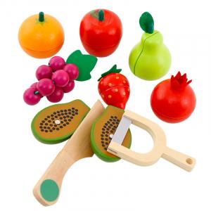 Cos din lemn cu alimente de feliat cu magnet, 16 piese - joc de rol [2]