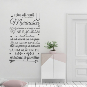 Sticker decorativ - BINE ATI VENIT IN CASA FAMILIEI - FAMILIA TA1