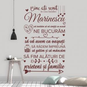 Sticker decorativ - BINE ATI VENIT IN CASA FAMILIEI - FAMILIA TA0