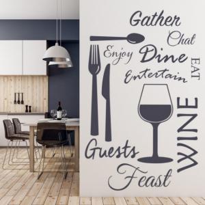 Sticker decorativ - WINE DINE KITCHEN0
