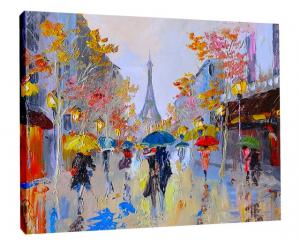 TABLOU CANVAS EFECT PICTURA - ZI PLOIOASA LA PARIS1