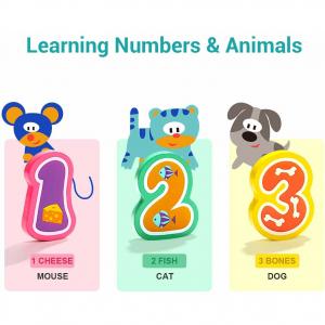 Puzzle din lemn - Numere și animăluțe3