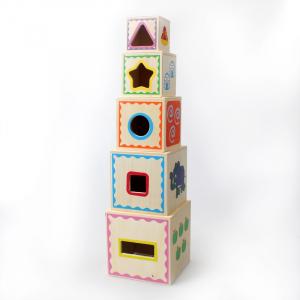Turn Montessori din lemn 5 cuburi Cifre si Forme3