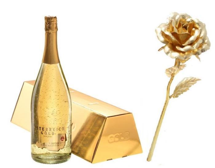 Cadou Gold Lady Sampanie cu foita de aur si Trandafir Aur 0