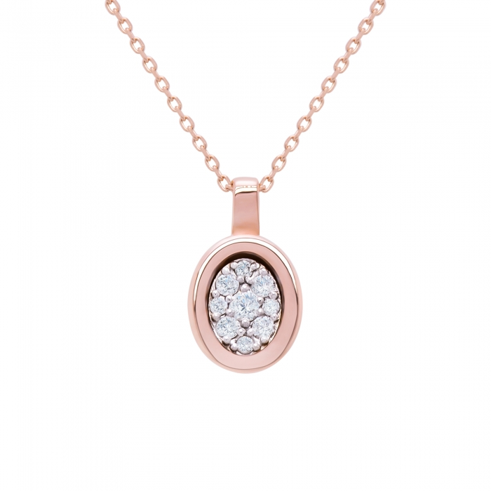 Colier din aur rose de 18k cu diamante naturale-big